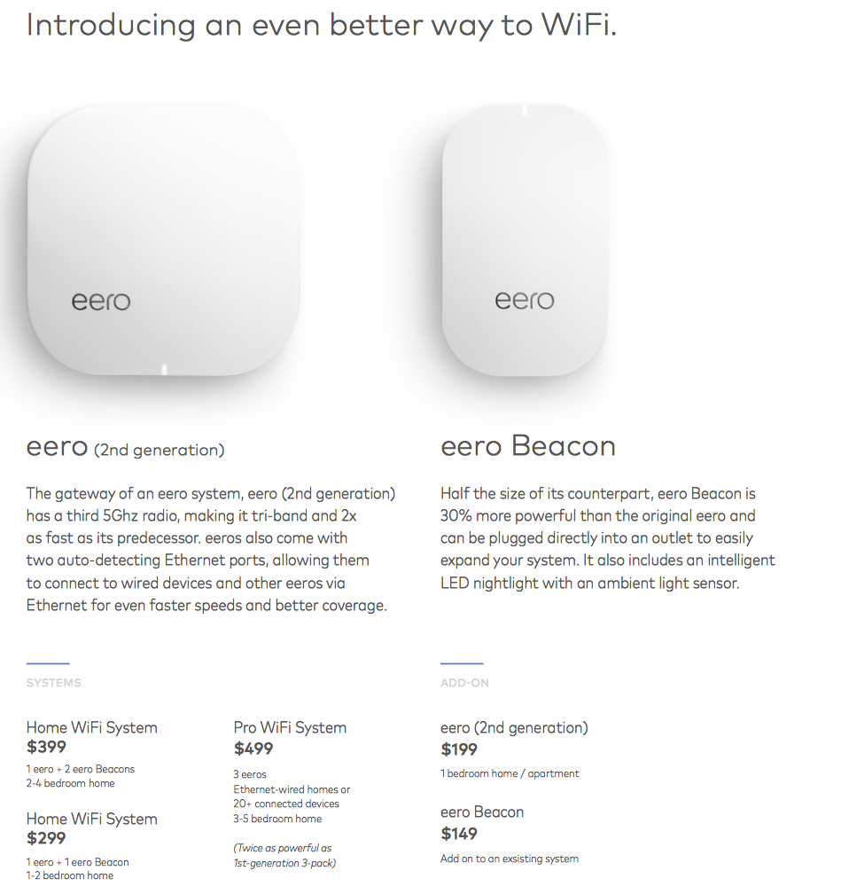 eero first page data sheet
